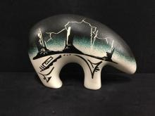 native American Signed Hand Painted Bear Figurine