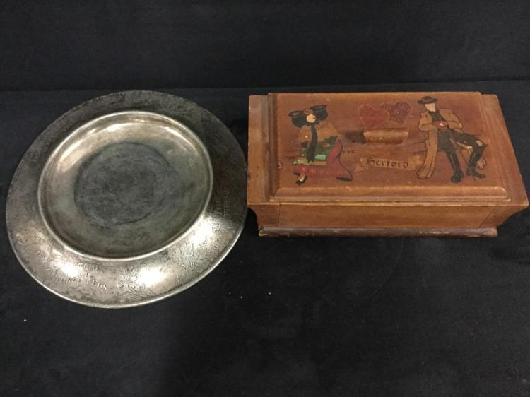 Antique Dresser Box & Vintage Nursery Rhyme Dish