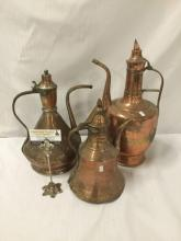 Lot 3: Collection of 3 antique hammered single handled copper ewers