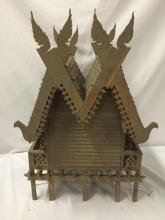 Lot 5: Vintage finely decorated antique Euro style model cabin on stilts with dual roof and wing toppers