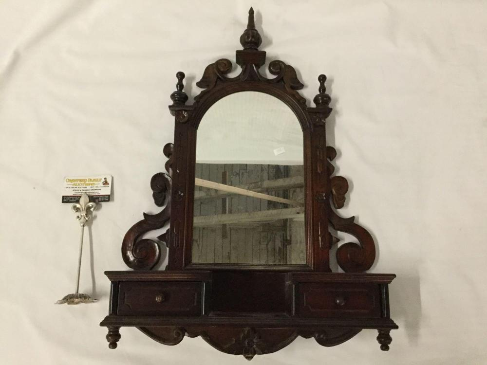 Antique renaissance revival style carved wall mirror with shelf and 2 small drawers