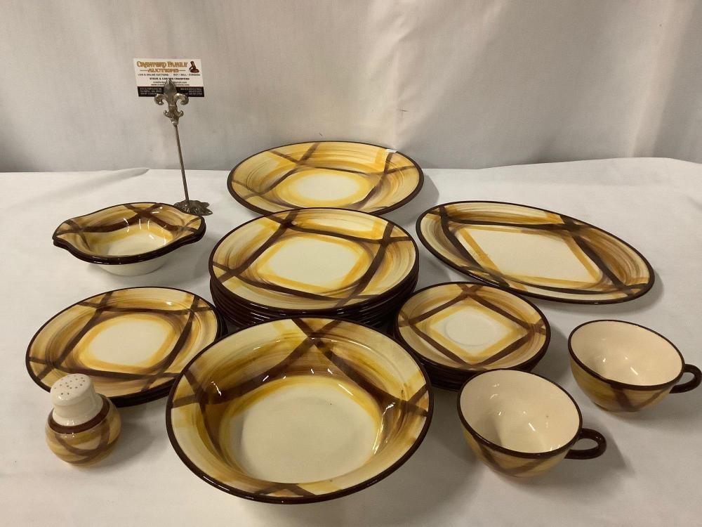 Collection of 23 pieces of Organdie Vernonware hand painted dishes, cups & 1 shaker