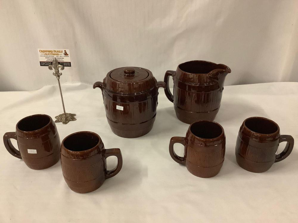 Rare 6pc ceramic 1950's barrel style mugs, pitcher and cookie jar set by Frankoma