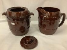 Lot 12: Rare 6pc ceramic 1950's barrel style mugs, pitcher and cookie jar set by Frankoma