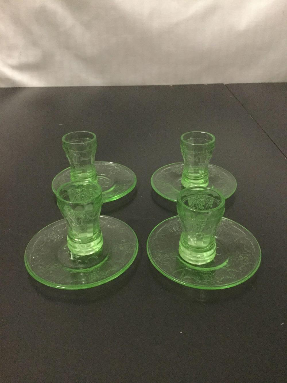 Lot 18: 12 pc of vintage green depression glass - etched plate, pattern plate, childs pitcher etc