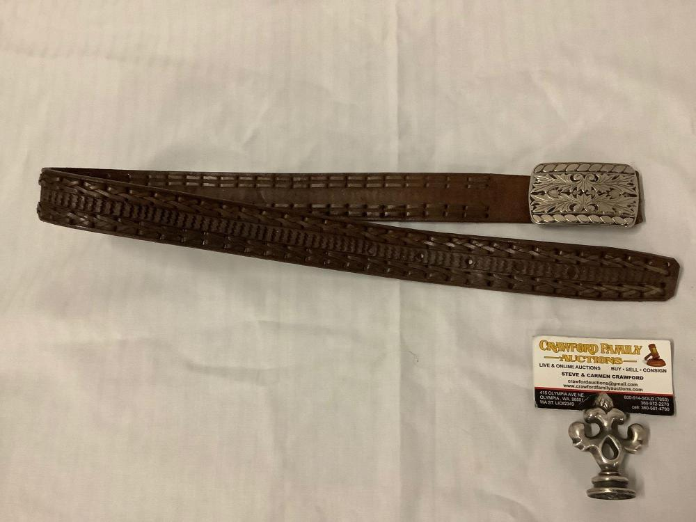 Vintage men's leather braided belt with etched metal buckle, approx 40 inches total length