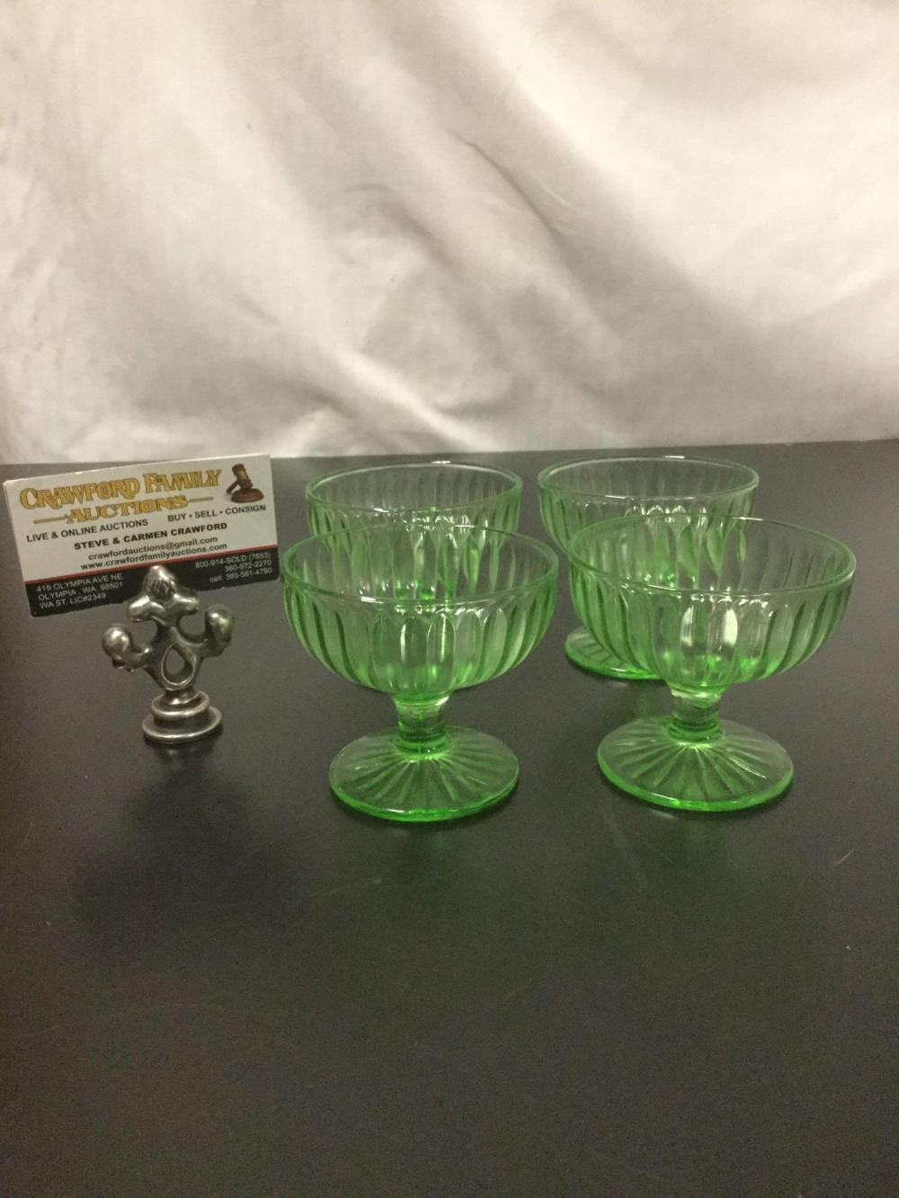 Lot 16: 4pc set of vintage Vaseline glass footed sherbet glasses
