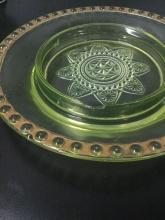 Lot 17: 1899 Ranson yellow Vaseline glass butter dish