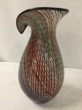 Lot 23: Studio art glass fluted vase or pitcher w/a multicolored base & optical twisted cane design