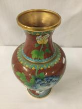 Lot 29: Vintage Chinese cloisonne vase with brass trim and overlay - bird, flower and butterfly design