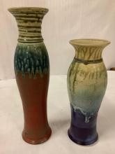 Lot 27: 2 handmade glazed ceramic vases w/ tapered bodies & colorful drip design by Mark Hudak