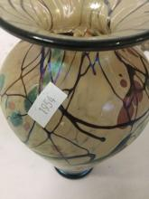 Lot 26: Lindsay Art Glass (2013) Studio art glass vase with abstract designs on ivory field
