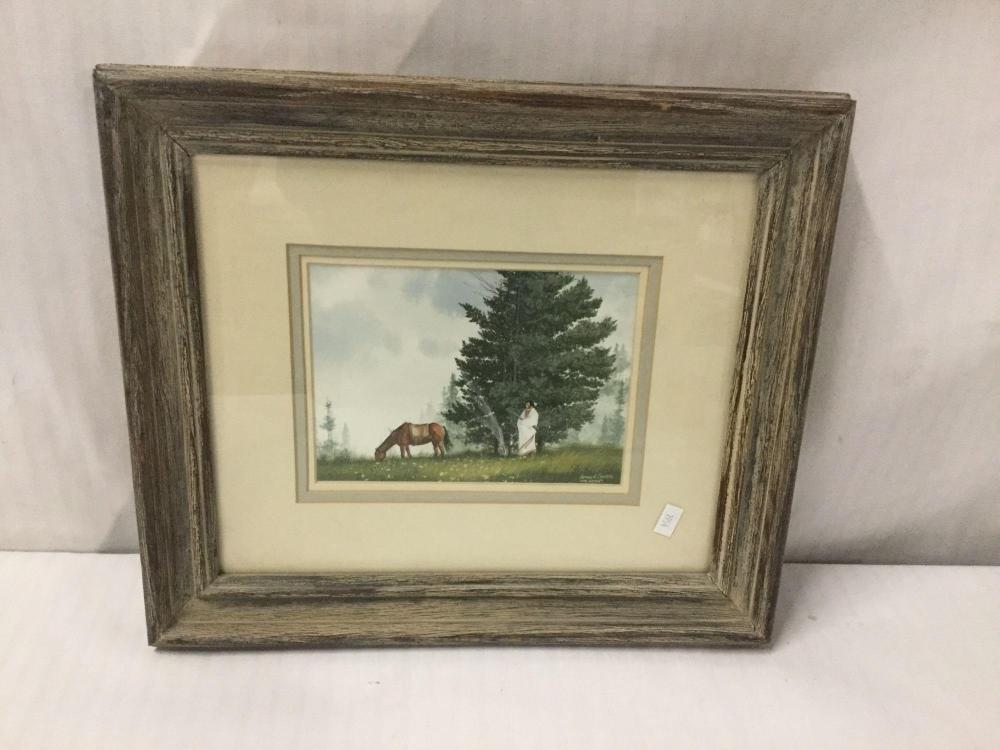 Lot 31: The Watch by Jeffrey H Craven - original watercolor painting depicting a Native American