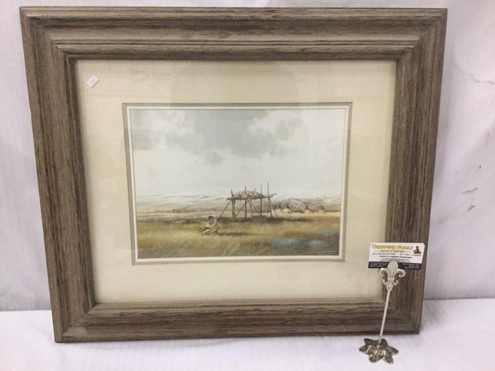 Lot 32: On the Wings of an Eagle by Jeffrey H Craven - original watercolor painting of Native American scene