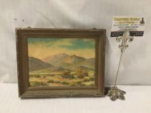 Lot 39: Herbert Sartelle original oil landscape depicting a desert landscape - in wood frame