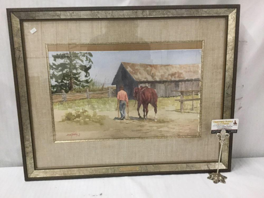 Original Bud Helbig watercolor painting - The Old Place - in wood frame & appraised at $1300
