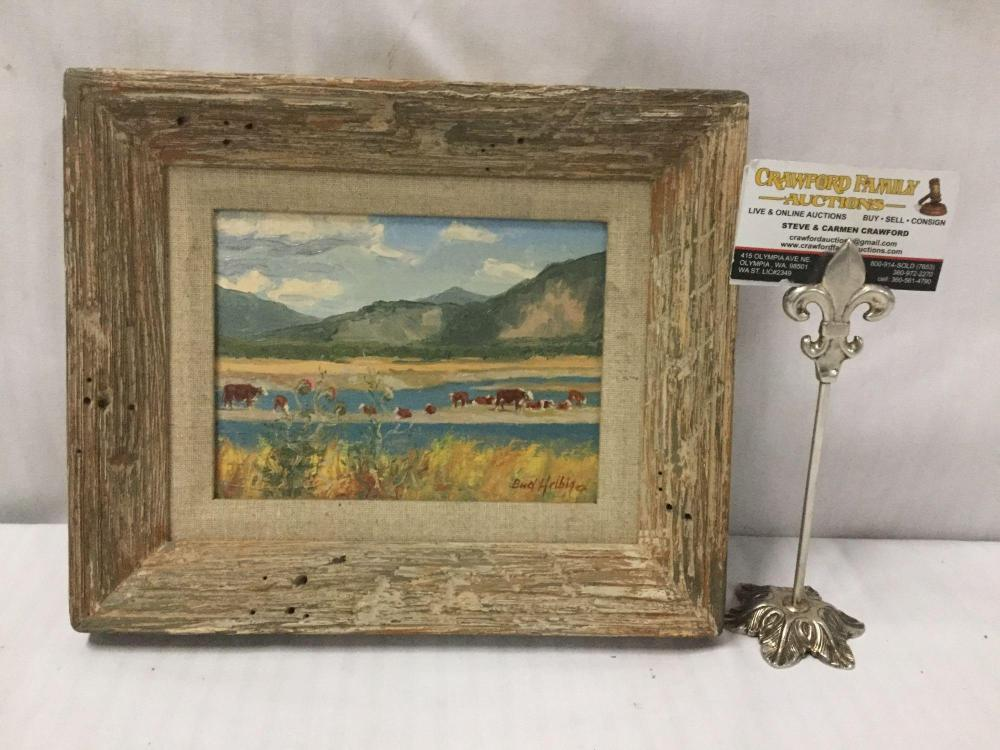 Original oil painting by Bud Helbig - signed & depicting a landscape with cows and mountains