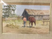 Lot 37: Original Bud Helbig watercolor painting - The Old Place - in wood frame & appraised at $1300