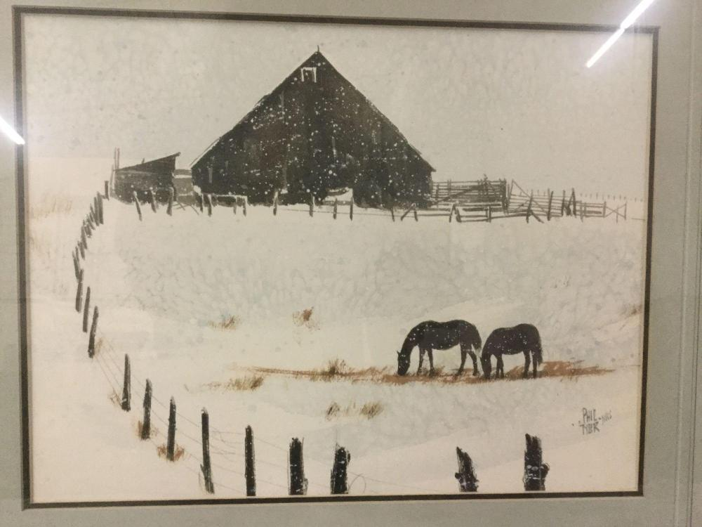 Lot 38: Original watercolor by Phil Tyler from 1980 titled a Couple of Broomtails - appraised at $325