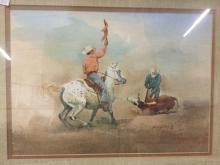 Lot 34: Bud Helbig untitled signed original watercolor from 1979 Appalossa News issue - in woof frame