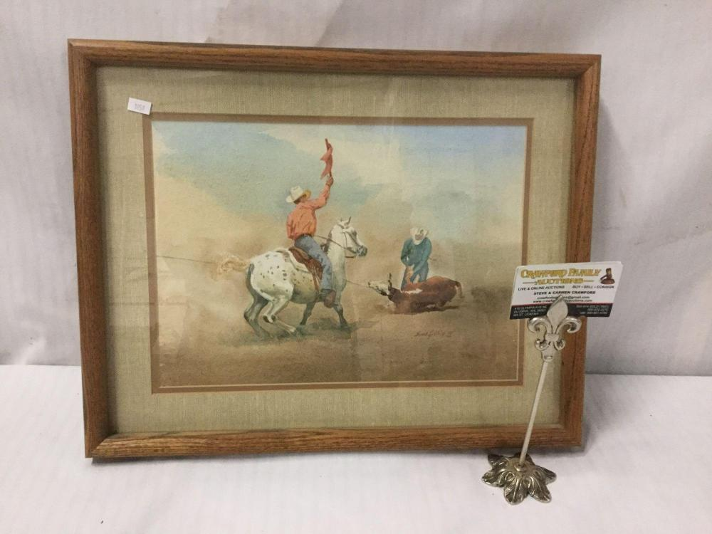 Bud Helbig untitled signed original watercolor from 1979 Appalossa News issue - in woof frame
