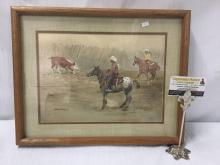 Lot 35: Original watercolor painting by Bud Helbig signed & dated - riders and a cow scene