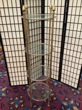 Lot 44: Four tiered glass and metal round display shelf