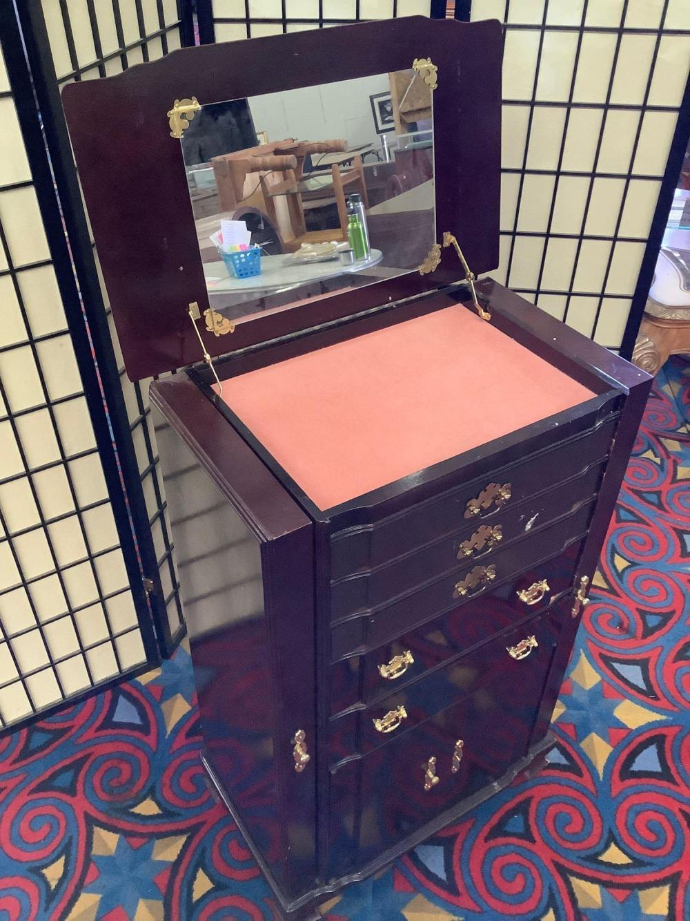 Lot 41: Powell Furniture Upright jewelry cabinet w/ side doors, 5 drawers & lower cabinet missing a pull