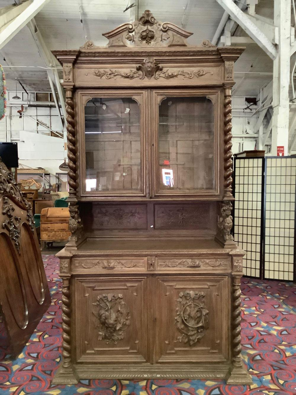 "Antique hutch display cabinet w/ ornate carvings ""The Hunt"", twisted columns, etc as is"