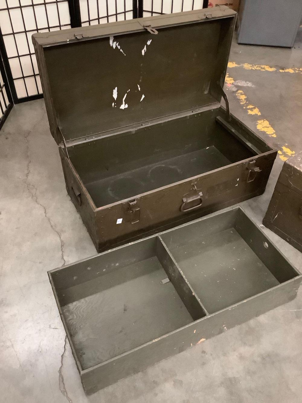 Lot 56: 2 vintage mid century military footlockers / storage trunks, with interior divider shelf