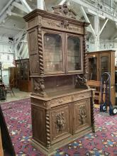 """Lot 53: Antique hutch display cabinet w/ ornate carvings """"The Hunt"""", twisted columns, etc as is"""