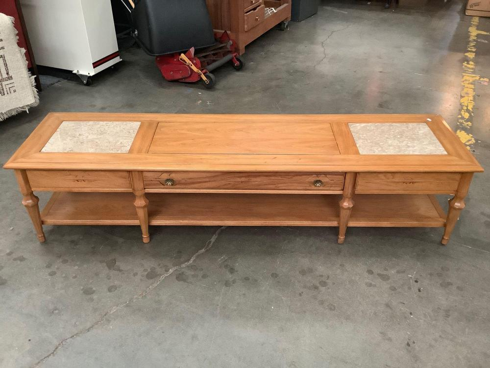 Lot 54: Vintage Heritage coffee table with 1 drawer and marble top pieces - made in Portugal