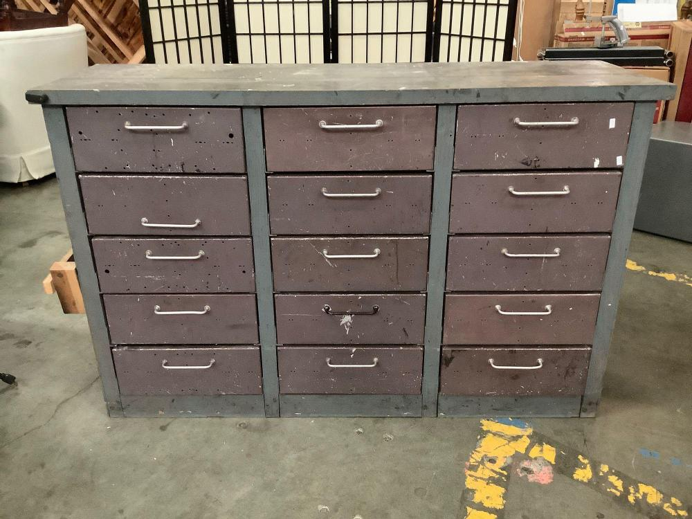 Vintage wood work bench with 15 steel drawers full of random parts, tools and other shop items