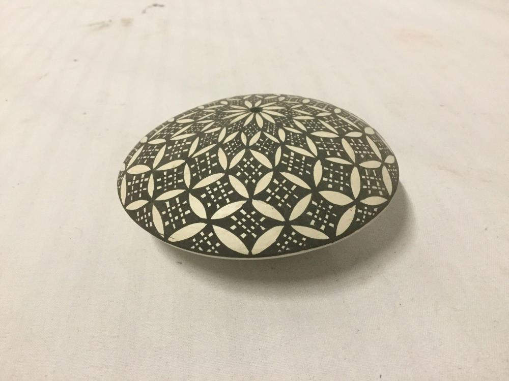 Lot 68: Seed pot with ovoid and linear designs by B.V. Ascension of Acoma, New Mexico