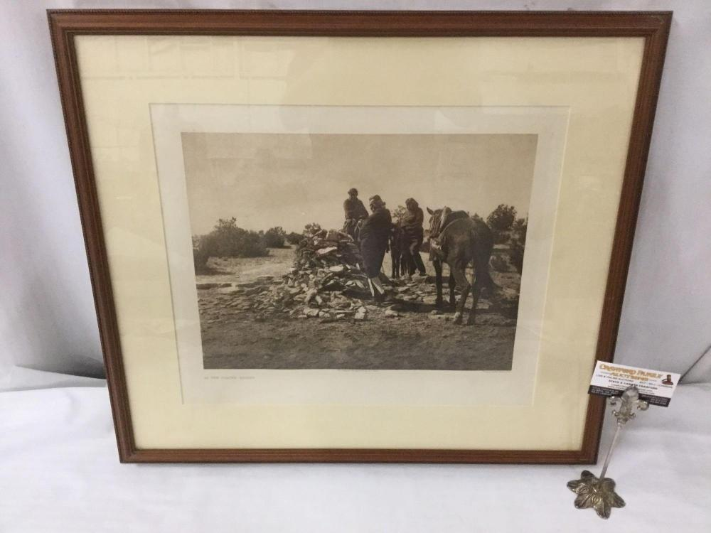 Antique framed photogravure by John Andrew & Son of Edward Curtis - At the Shrine - $350 value