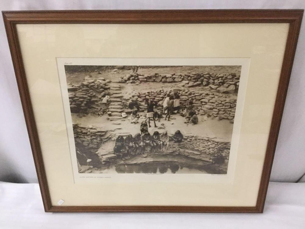 Lot 74: Antique framed photogravure by Suffolk Engraving Co. of Edward Curtis - Flute Dancers At Tureva