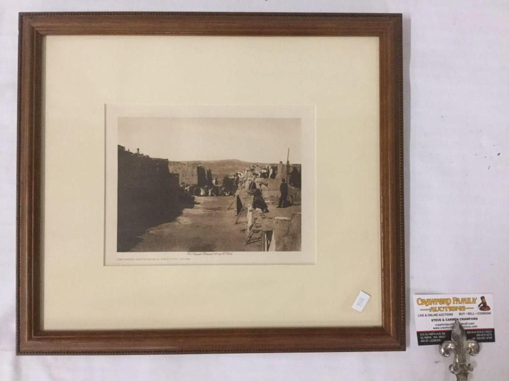 Antique framed photogravure by Edward Curtis - Depositing San Estevan in the Booth-Acoma (copyright