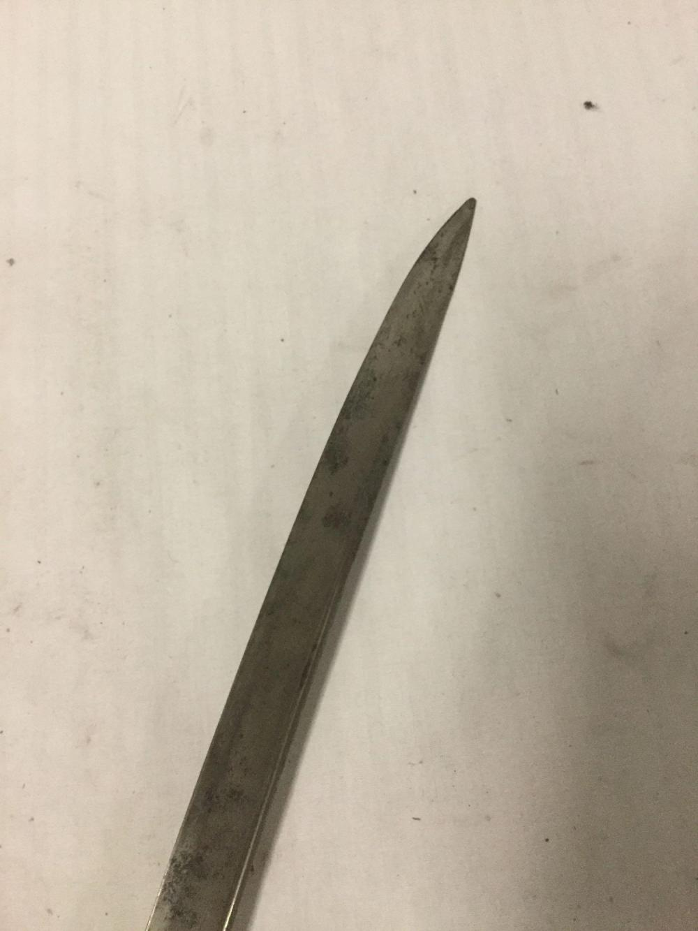 Lot 81: Antique 1850 Spanish Real Toledo Steel NCO Sword. Part of the hilt has separated
