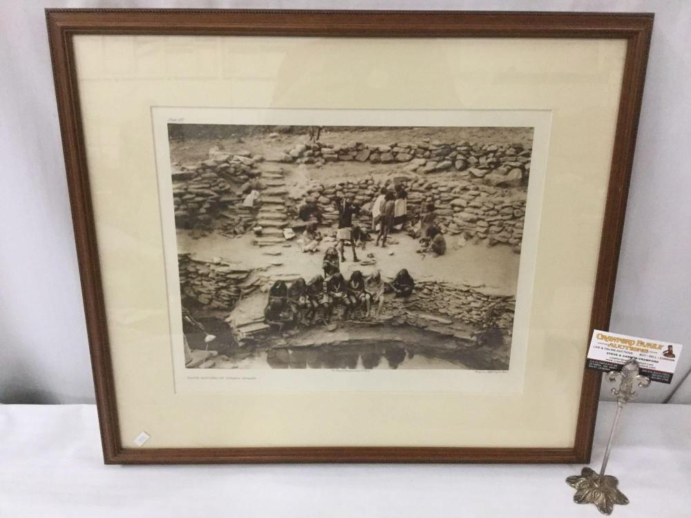 Antique framed photogravure by Suffolk Engraving Co. of Edward Curtis - Flute Dancers At Tureva
