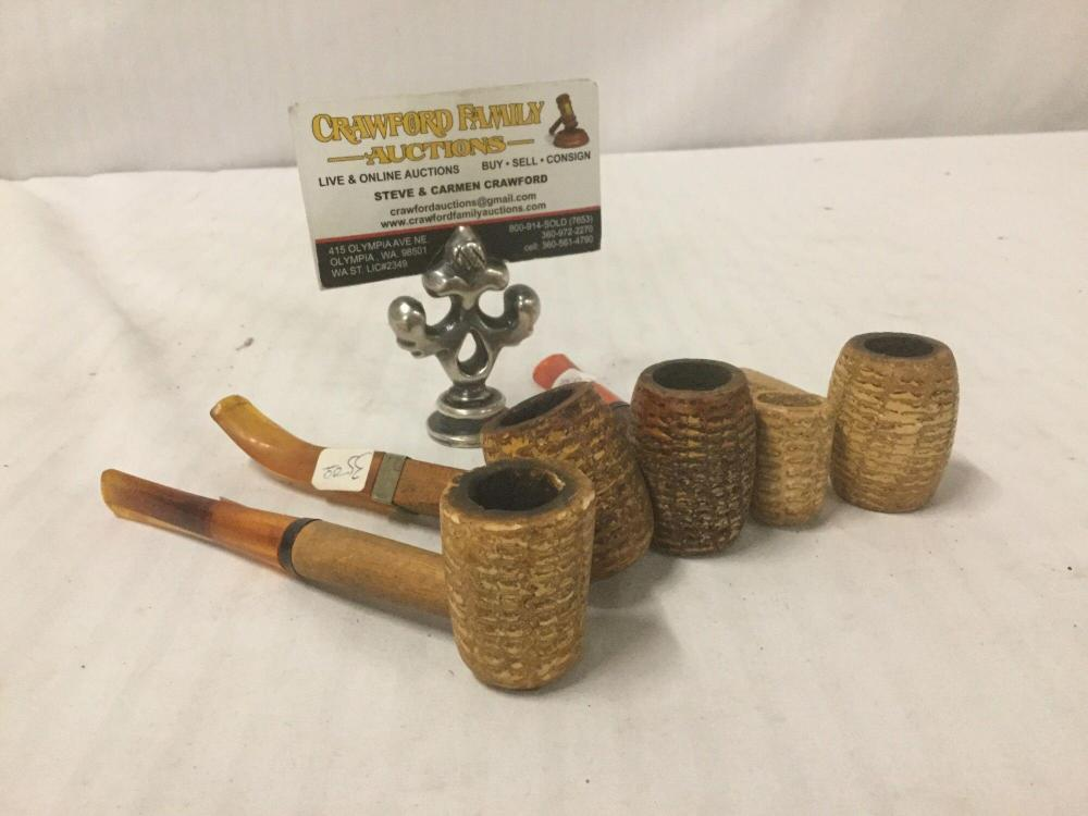 Collection of 5 vintage corn cob pipes