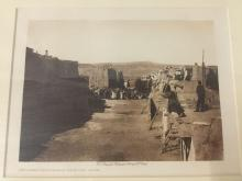 Lot 80: Antique framed photogravure by Edward Curtis - Depositing San Estevan in the Booth-Acoma (copyright