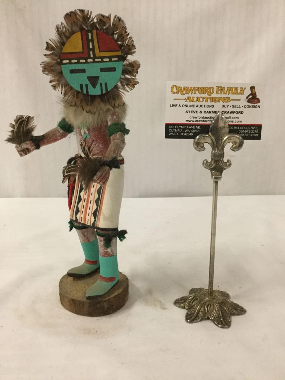 Native American art sculpture - Hopi kachina doll, Sun Face, signed by artist C. Smith