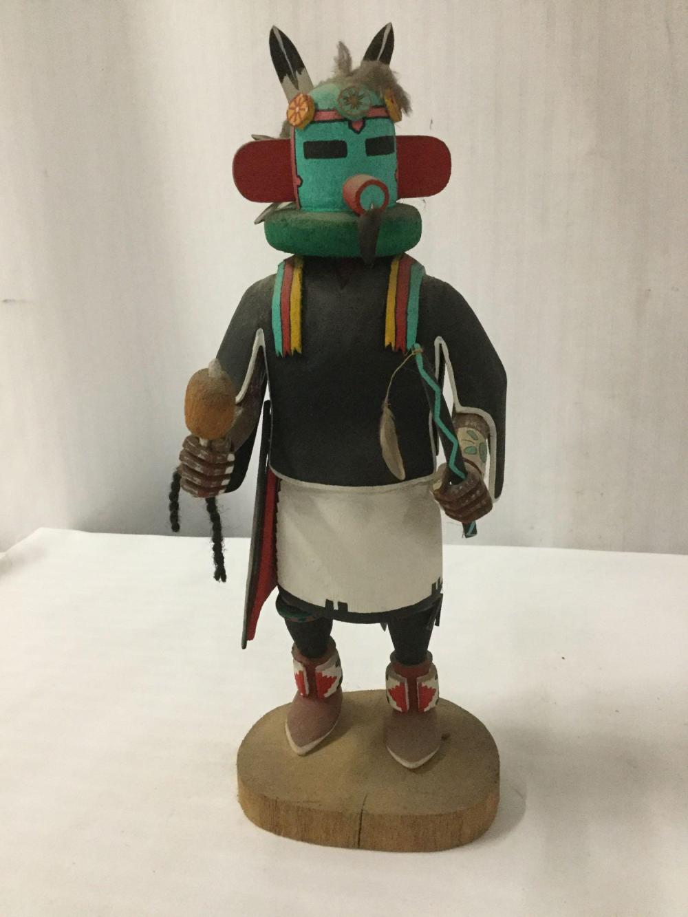 Lot 116: Native American art sculpture - Hopi Velvet Shirt kachina doll signed by artist S. Nez