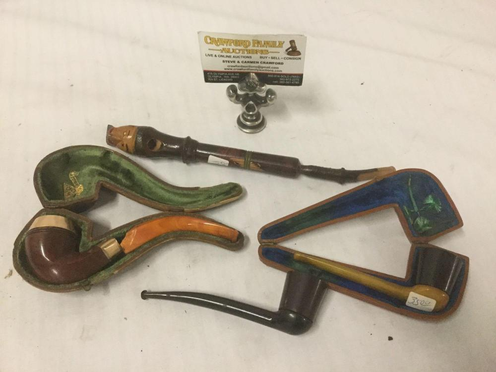 Collection of 4 vintage wooden pipes incl. bakelite handles on some - 2 with cases as is