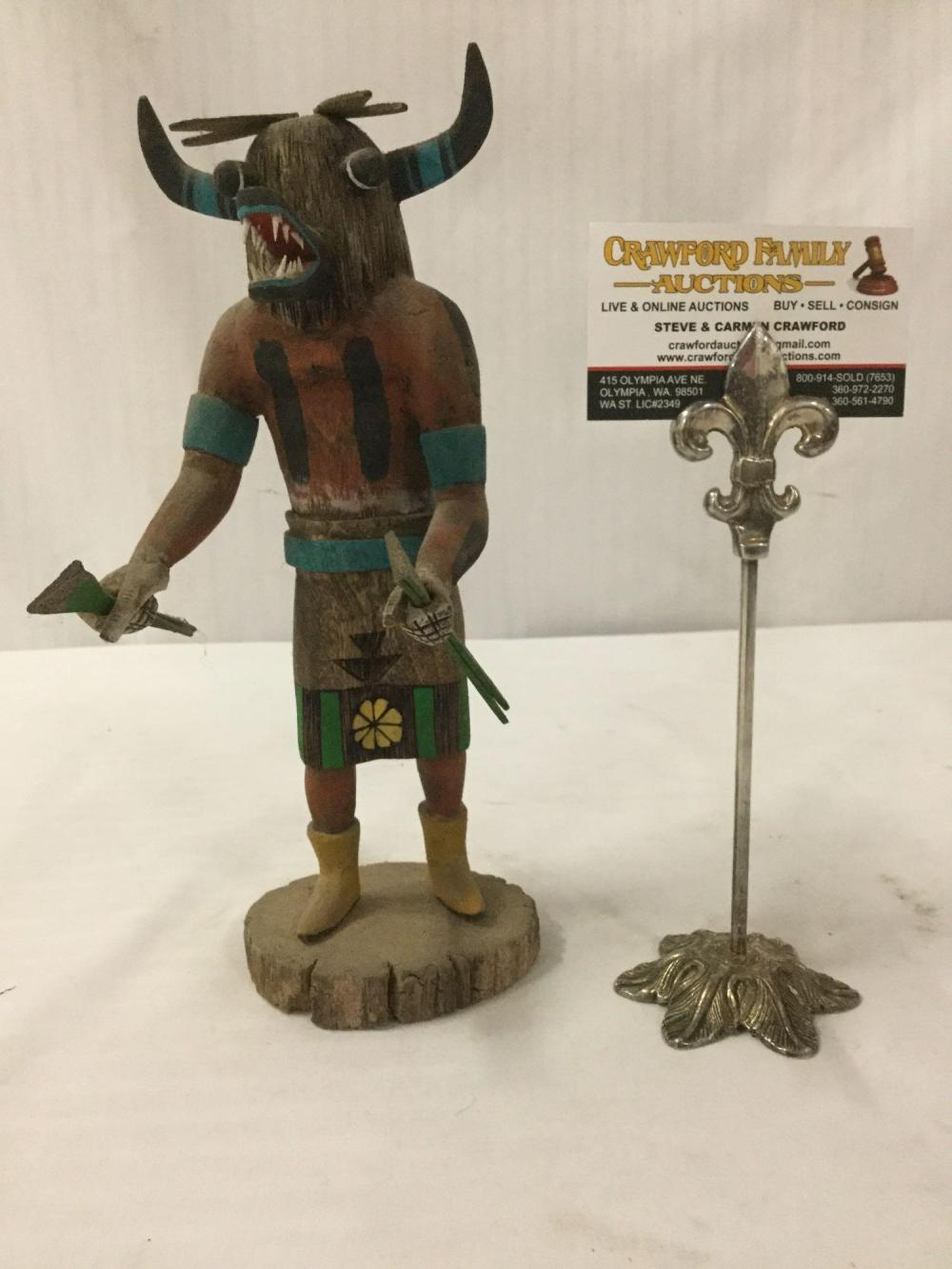 Native American art sculpture - Hopi Orge kachina doll, signed by artist