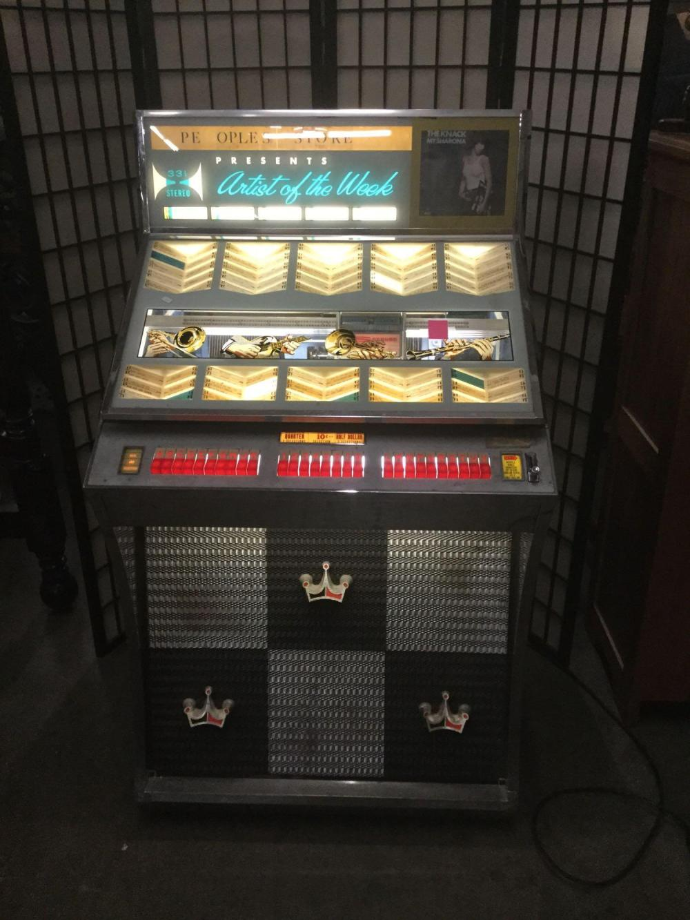 Vintage Seeburg Selectomatic stereo jukebox full of classic rock records - as is see desc