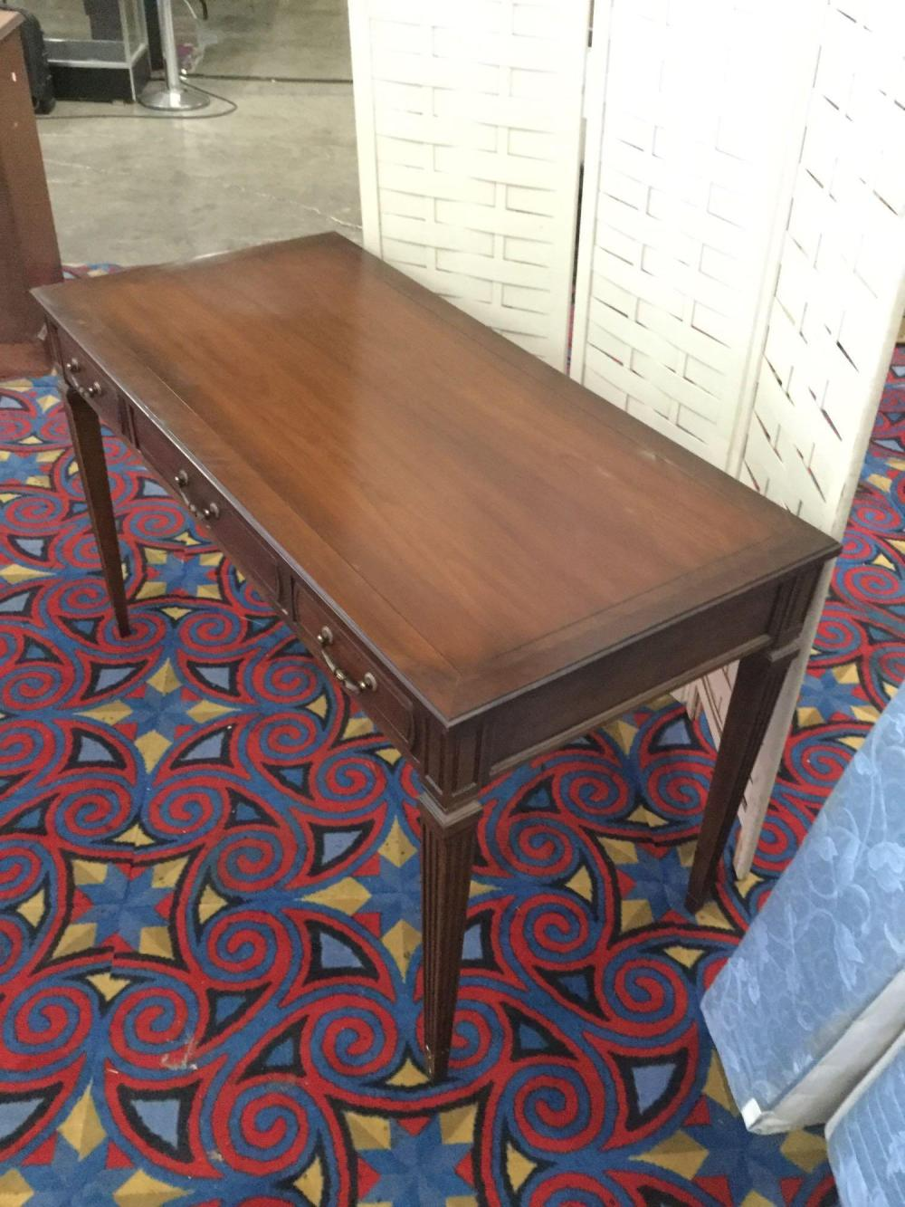 Lot 130: Vintage Harmony writing desk with 3 simple drawers