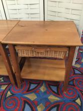 Lot 125: Pair of vintage end table or nightstands with wicker basket drawers