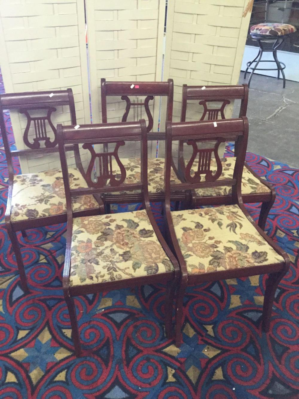 5 antique mahogany lyre back chairs with floral stitched seats - deco period