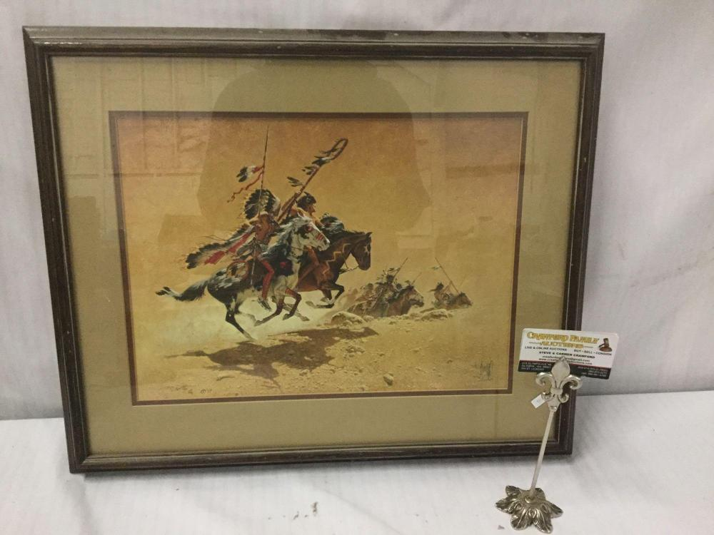 Ltd Ed signed lithograph by Frank McCarthy - On the Warpath #'d 776/1000 in wood frame